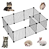 Ansley&HosHo Small Dog Playpen Indoor Outdoor Metal Wire Portable Convertible DIY Pet Animal Fence Cage Room Divider for Home Puppy Rabbit Ferret Guinea Pig Bunny Small Cat