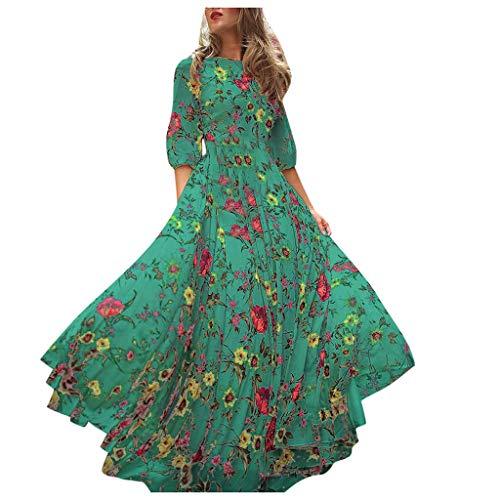 ZZBO Boho Kleider Damen Laternenhülse Sommerkleid Reizvolle Frauen Strandkleid Langarmkleid Rundhals Printkleid Blumenmuster Maxikleid Freizeitkleid S-XL(Blau,Grün)