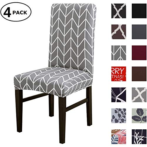 Dining Chair Cover Seat Protector Super Fit Slipcover Stretch Removable Washable Soft Spandex Fabric for Home Hotel Dining Room Ceremony Banquet Wedding Party Restaurant (Color 15, 4 Per Set)