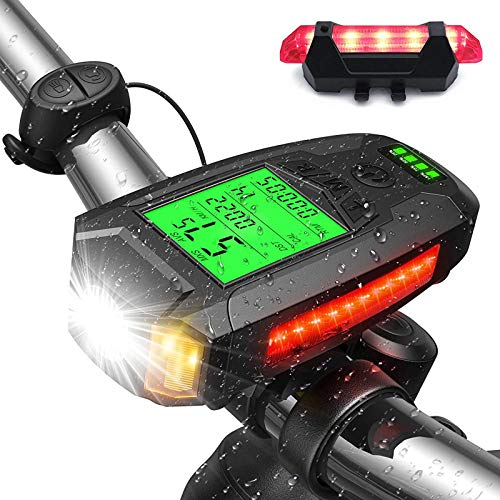 Bike Computer with Headlight and Taillight USB Rechargeable Loud Bike Bell 5 Lighting Modes Flashlight for All Mountain and Road Trips