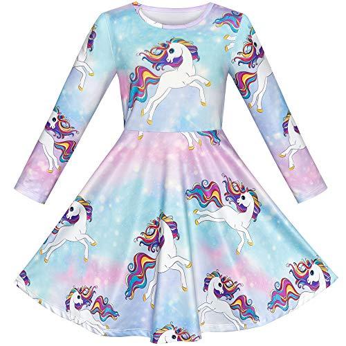 Mädchen Kleid Baumwolle Einhorn Regenbogen Beiläufig Langarm Vintage Swing Kleid Skaterkleid Gr. 134