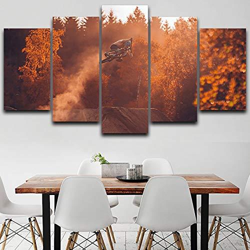 LPHMMD 5 stuks canvas schilderij moderne muurkunst afbeeldingen HD gedrukt 5 panelen mountainbike herfst landschap decoratie poster woonkamer schilderij