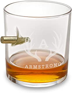 Personalized Bullet Lowball Whiskey Glass - Antlers Design