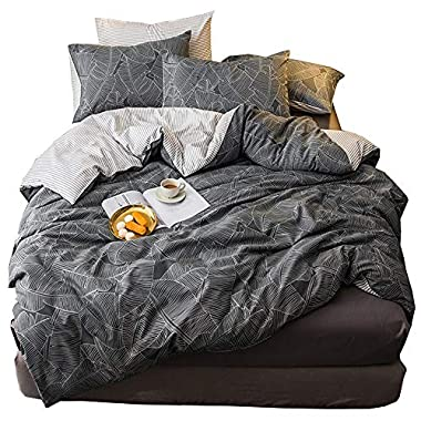 3 Piece Leaves Pattern Grey Duvet Cover Full Cotton Comforter Cover Sets with Zipper Closure Reversible Modern Striped Geometric Queen Bedding Sets Lightweight Soft Cotton Duvet Cover Set Full/Queen