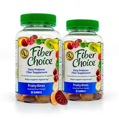 Fiber Choice Fruity Bites Prebiotic Fiber Gummies, #1 Gastroenterologist Recommendedⱡ, Helps Support Regularity*, Prebiotic Fiber Helps Support Immune Function*, Gelatin Free, 90 Count Assorted Fruit (Pack of 2)