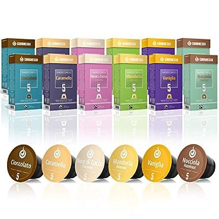 Gourmesso Caja de sabores – 120 cápsulas de café compatibles con cafetera Nespresso - 100% Fairtraide - 6 Sabores inusuales
