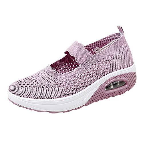Merceditas Plataforma Ligero Zapatillas Sandalias para Mujer Malla Sneaker Mary Jane Casual Zapatos de Deporte Mocasines Verano
