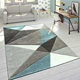 Paco Home Tapis 3D Triangles Pastel Tendance Gris Turquoise, Dimension:160x230 cm