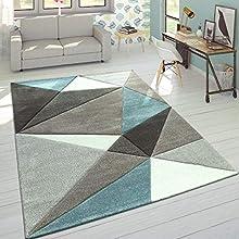 Paco Home Alfombra Efecto 3D Triángulos Turquesa Gris Pastel, tamaño:120x170 cm