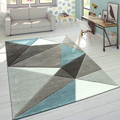 Paco Home Designer Teppich Moderner Konturenschnitt Trendige Dreiecke Pastell Grau Türkis, Grösse:160x230 cm