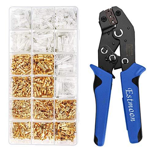 Estmoon Crimpzange Flachsteckhülsen Set mit Schutzhüllen, Crimpwerkzeug mit 500 stück Kabelstecker 0,5-1,5 mm² (AWG 22-16)