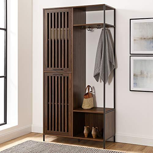 Walker Edison Slat Cabinet Door Metal and Wood Hall Tree Coat Rack with Open Storage, 72, Dark Walnut