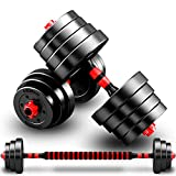 Zzzy Adjustable Dumbbells, Free Weights Dumbbells with Connecting Rod Used As Barbell, Adjustable