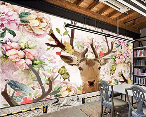 Wuyii Fotobehang met hertenkop en hertenkop van wit hert, wit papier, 3D-foto, murale slaapkamer, woonkamer, 3D 200 x 140 cm