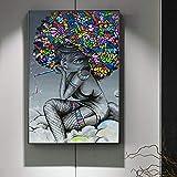 SQSHBBC Impression Street Art Moderne sur Toile Fille Noire Graffiti Art Peintures...
