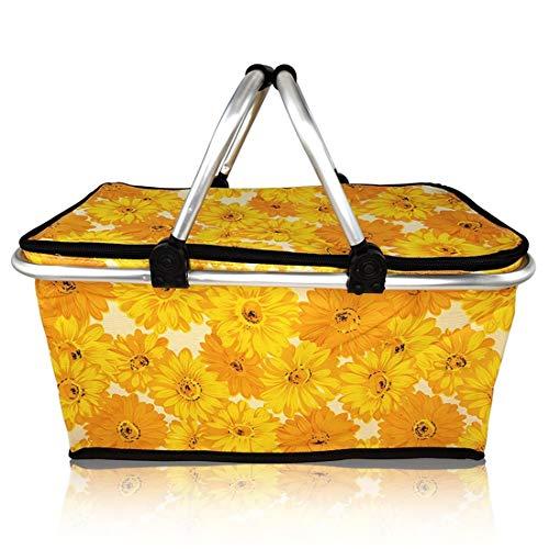 Faltbarer Isolierter PicknickKorb im Sonnenblume Motiv, Volumen: 30L, Größe: L47xB28xH25cm (5cm Nach Dem Falten)
