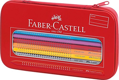Faber-Castell 112450 - Colour Grip Mal- und Zeichenset, 18-teilig, inklusive Spitzer