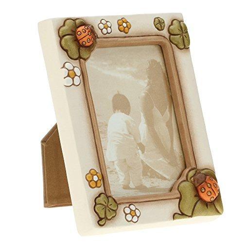 THUN ® - Cornice Portafoto con Coccinella Portafortuna da Tavolo - formato 13x9 cm - color avorio - Ceramica