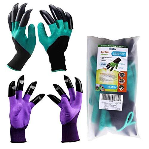 Eiito Garten Handschuhe (8 Klauen 2 Paar), Grün mit Lila gartenhandschuhe pflanz-und Gartenarbeit Handschuhe, Garten Gloves