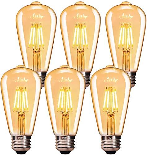 Edison Vintage Glühbirne, CMYK Edison Glühbirne LED E27 4W Warmweiss Vintage Leuchtmittel Retro Glühlampe Dekorative Glühbirne Ideal für Nostalgie und Retro Beleuchtung im Haus Café Bar usw - 6 Stück