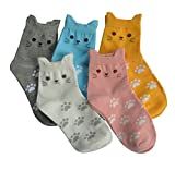 5 Pairs Women's Fun Socks Cute Cat Animals Funny Funky Novelty Cotton Gift (Cute Cat) Size: Free size 22.5-25.5cm Suitable for women US Size 5-8