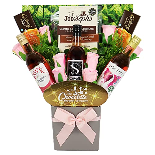 The Rosé Wine Collection & Chocolate Bouquet Gift Hamper in Presentation Box (3 x 187ml 11.5% ABV)
