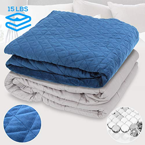Great Features Of SereneLife 15Lbs Quilted Blanket-60.0″ L x 80.0″ W Full Size Relaxing Weighted Glass Beads Calming Blanket and Duvet Comforter Cover Set for Adults-SLHVBLKT15, Blue