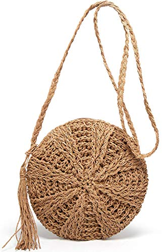 MATERIAL: Made of durable Straw. Inner Material: Polyester, Cotton Lining. Closure Type: Zipper SIZE: Diameter: 22cm/8.7inches Bottom thickness: 5.5cm/2.17inches; Three methods of use:as a shoulder bag, a handbag or as a crossbody bag LARGE CAPACITY:...