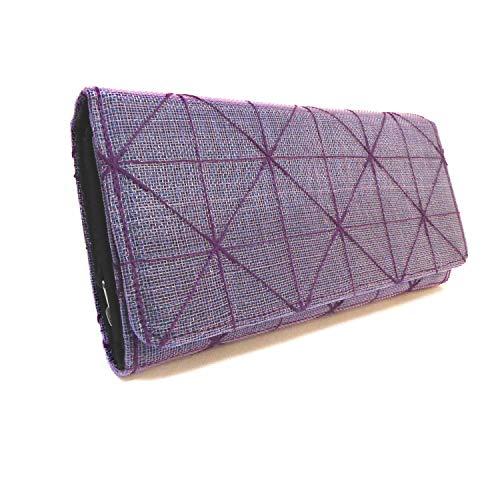 SANGKHUM Fairtrade Upcycling Geldbörse 'Moskito Magnet' (violett/Netz) - Design Zementsack-Portemonnaie aus Kambodscha