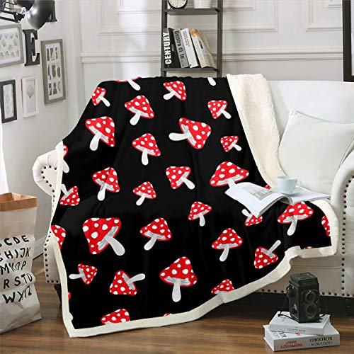 Feelyou Mushrooms Plush Throw Blanket Cute Botanical Sherpa Blanket for Kids Boys Girls Natural Wild Fungus Fleece Throw Blanket Red Mushroom Fuzzy Blanket for Sofa Bed Couch 30'x40' Black