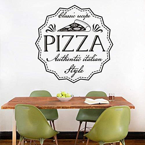 Adesivo Murale Ricetta Pizza Classica Adesivo Murale Pizzeria Stile Italiano Poster Rimovibile Ristorante Pizzeria Vetrofanie 57X57 Cm