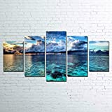 45Tdfc 5 Unidades Pictures Paisaje Marino de la Onda del mar Painting Home Decor Modern Wall Art Canvas HD Prints Frame Modular Poster