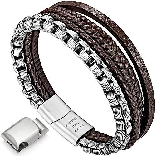 armband herren lederarmband herren lederarmband für männer edelstahl armband(braun,silber,22cm)