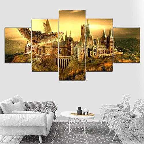 sanzx Wand Kunstdruck Poster 5 Stücke Harry Potter Poster Schule Hogwarts Castle Bild Home Decoration Leinwand Malerei Wohnzimmer Rahmenlose 30 * 40 * 2 30 * 60 * 2 30 * 80 cm Anpassbare