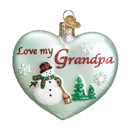 Old World Christmas Grandparents Glass Blown Ornaments for Christmas Tree Grandpa Heart
