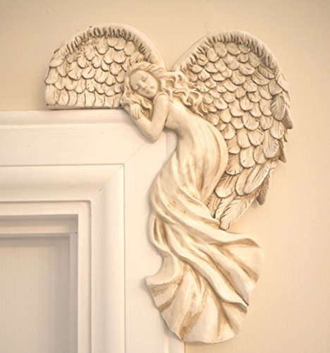 garden mile Vintage Shabby Chic Style Ivory Angel Wings Door Frame Ornament. Unique Christmas Decoration Right Angle Ivory Wall Sculpture. 25cm Tall, Home Decor Or Weddings.