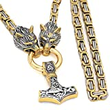 GuoShuang Men Norse Viking amulet thor hammer mjolnir pendant necklace -stainless steel