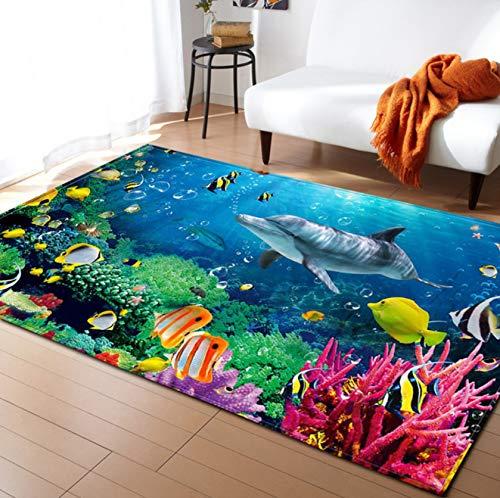 Teppich 3D-Druck Unterwasserwelt Fisch Wohnzimmer Und Schlafzimmer Restaurant Polyester Mat Kinderzimmer Dekor80cmx150cm