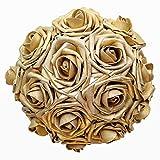 Breeze Talk Artificial Flowers Blush Roses 25pcs Realistic Fake Roses w/Stem for DIY Wedding Bouquets Centerpieces Arrangements Party Baby Shower Home Decorations (25pcs Gold)