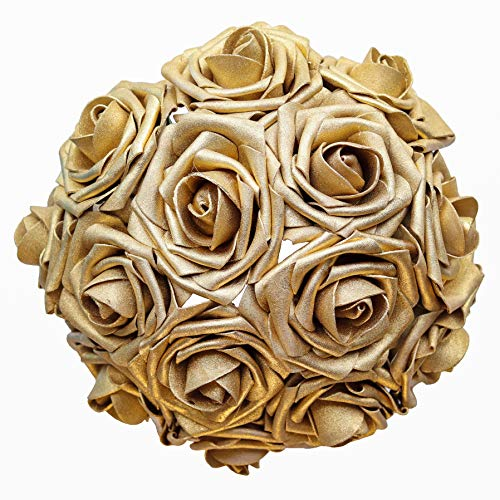 Breeze Talk Artificial Flowers Gold Roses 25pcs Realistic Fake Roses w/Stem for DIY Wedding Bouquets Centerpieces Arrangements Party Baby Shower Home Decorations (25pcs Gold)