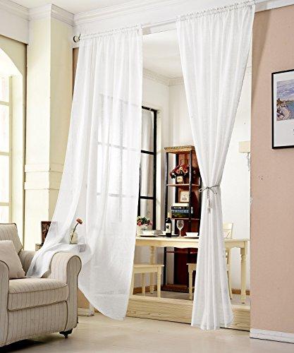 WOLTU® VH5859ws, Gardinen transparent mit Kräuselband Leinen Optik, Vorhang Stores Voile Fensterschal Dekoschal für Wohnzimmer Kinderzimmer Schlafzimmer, 140x245 cm, Weiß, (1 Stück)