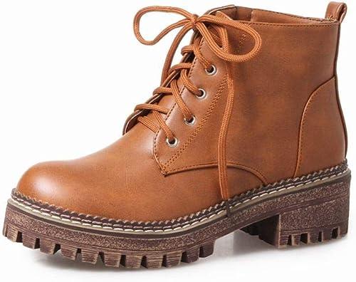 Fuxitoggo Stiefel para damen - con Las Stiefel Martin cálidas Stiefel con Cordones de Moda Stiefel Bajas para damen 34-43 (Farbe   braun, tamaño   38)
