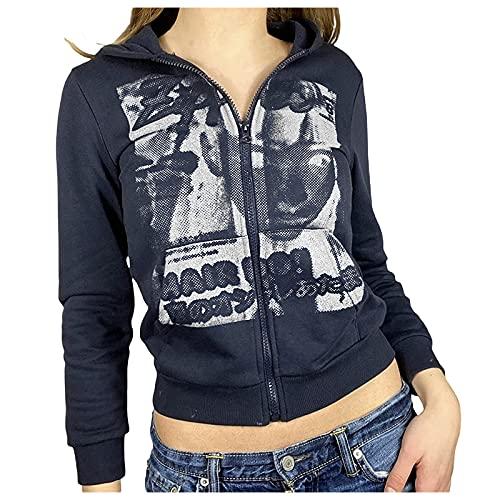 Dasongff Sweat à Capuche Y2K Femme Zippé Manches Longues Sweatshirts Imprimés avec Poche Streetwear T-Shirt Veste Femme Automne Blouson Femme Chic Et élégant Veste Moto Grande Taille