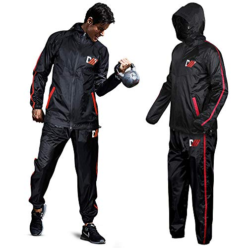 DMoose Hot Sweat Sauna Suit for Weight Loss, 2 Pc. Set, Top and Bottom Full Body Workout Wear for Women and Men, Supports Running, Cycling, (Black/Red, X-Large)