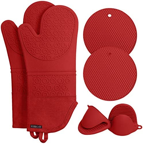 Rorecay Extra Long Oven Mitts and Pot Holders Sets Heat Resistant Silicone Oven Mittens with product image