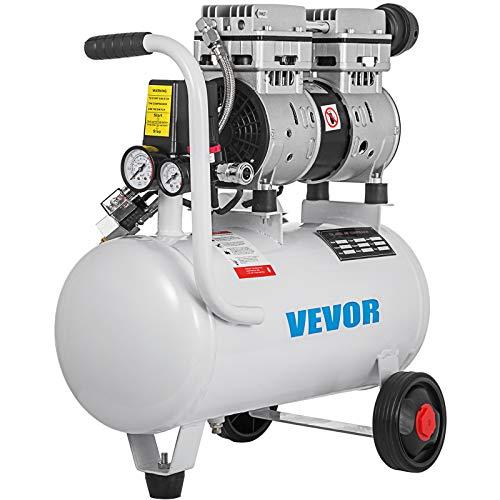 VEVOR 25L 750 W Compressore d'Aria Senza Olio Ultra Silenzioso da 5.5 Galloni, Compressore Silenziato, Compressore d'Aria, Rumorosità meno 48 dB, Compressore d'aria Portatile Senza Olio