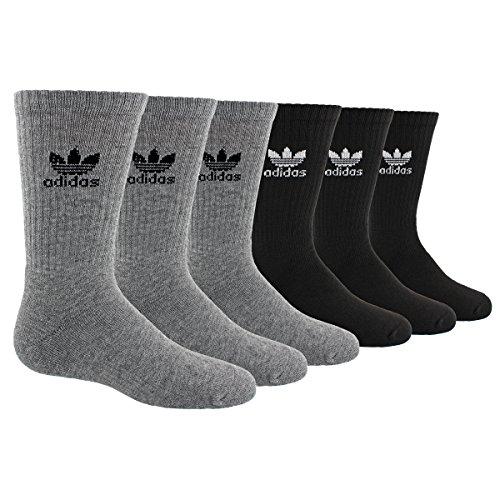 adidas Boys / Youth Originals Trefoil Crew Socks (6-Pack), Heather Grey/Black/White, Large