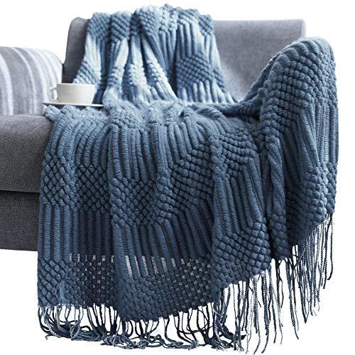 Manta con Borlas para Cama Sofá Hotel Colcha de Sillón Verano Throw Blanket Suave Tapiz Elegante Decorativo Transpirable Color Sólido