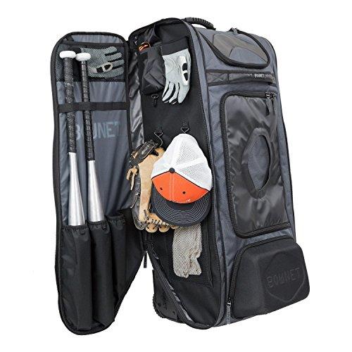 Bownet Commander Catchers Bag -14 Pockets - Travel Bag - Perfect for Baseball Softball Equipment - Stores Gear Bats Helmets Uniforms - Strong Roller Wheels - Dark Green - 41