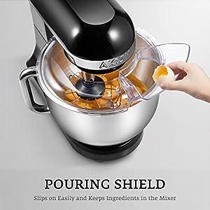 Küchenmaschine, Aicok 5L Weniges Geräusch Knetmaschine mit Doppelten Knethaken, Rührbesen, Knethaken, Schlagbesen, Spritzschutz, 6 Geschwindigkeit mit Edelstahlschüssel Teigmaschin